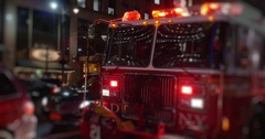 Fire Truck's Flashing Red Lights at Night in Manhattan  Stock Footage