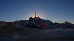 Timelapse of Sunrise over Famous Painted Landscape in Slab City -Zoom In- Stock Footage