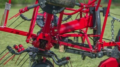 Both sides of the agricultural machinery are now closed Stock Footage
