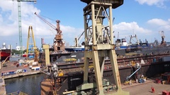 Shipyard crane and dry dock. Gdańsk. Poland Stock Footage