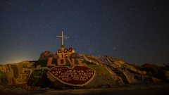 Astro Timelapse of Moonrise over Famous Painted Mountain in Slab CitY -Pan Left- Stock Footage