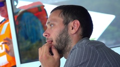 Young Man Talk at the Phone on Yacht, serious conversation Stock Footage