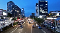 Night traffic in Jakarta, Indonesia capital city Stock Footage