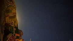 Astro Timelapse of Moonrise over Painted Mountain in Slab City -Vertical/Pan- Stock Footage