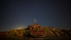 Astro Timelapse of Moonrise over Famous Painted Mountain in Slab City Stock Footage