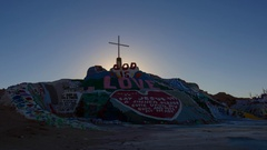 Timelapse of Sunrise over Famous Painted Landscape in Slab City -Long Crop- Stock Footage