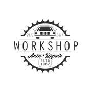 Auto Repair Workshop Black And White Label Design Template With Establishment Stock Illustration