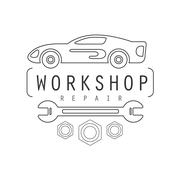 Car Repair Workshop Black And White Label Design Template With Wrench Stock Illustration