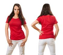 Woman wearing blank red shirt front and back Stock Photos