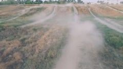 Extreme sport quad-bike race. aerial Stock Footage