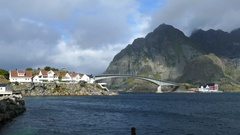 Bridge at the fishing village Henningsvaer Stock Footage