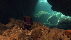 Treasure chest in underwater cave Stock Footage