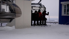 Skiers descend from the lift, Russia, Tashtagol, Sheregesh, 4 December 2016 4k Stock Footage