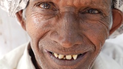 Old Man Posing in Udaipur, India Stock Footage