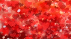 Valentine's day background with red hearts, seamless looping.  4k Stock Footage