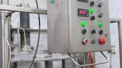 View of electrical cabinet at dairy plant at work Stock Footage