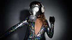 Gasmask erotic sexy gogo dancer sparkle Stock Footage