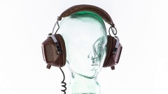 Mannequin music headphones retro vintage disco party head glass Stock Footage