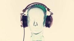 Mannequin music headphones retro vintage disco party head glass Stock Footage