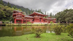 Time lapse at Byodo-In temple. Oahu. Stock Footage