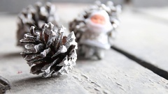 Christmas and New Year background, fir cones and Santa Claus Stock Footage