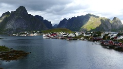 The fishing village Reine Stock Footage