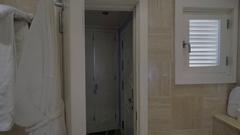 Closing bathroom door in the hotel Stock Footage