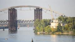 View of Podol'sko-Voskresenskiy bridge in Kiev Stock Footage