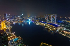 Marina Bay Sands Laser show Singapore Stock Footage
