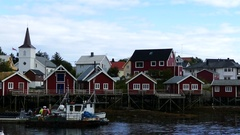 Harbour in the fishing village Reine Stock Footage