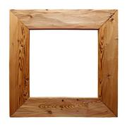 Rustic wooden frame isolated on white Stock Photos