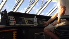Yacht Captain Driving, Control Board Cabin Stock Footage