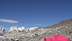 Helicopter Arriving at Mt. Everest Base Camp Stock Footage