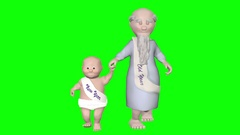 Old father time walks hand in hand with a baby representing the new year. Stock Footage