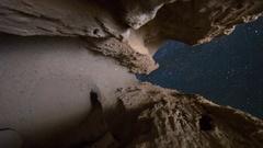 MoCo Astro Timelapse of Stars thru Sandstone Arch Formation in Desert -Vertical- Stock Footage