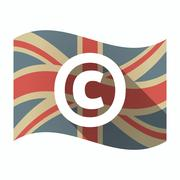 Isolated UK flag with    the  copyright sign Stock Illustration
