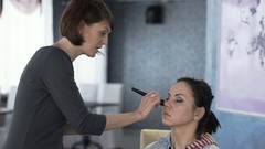 Master class for make-up artists. Foundation application. Stock Footage