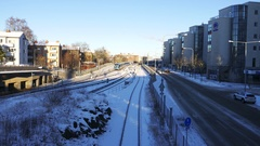Morning in the city. Winter street of Stockholm, Sweden Stock Footage
