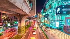 Bangkok Expressway and Highway top view, Thailand. November, 2016. 4K TimeLapse Stock Footage