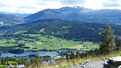 Village seen from the Lonahorgi mountain Stock Footage