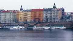 The Prague architecture, views of the city from the embankment of the Vltava Stock Footage