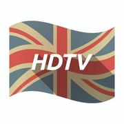 Isolated UK flag with    the text HDTV Stock Illustration