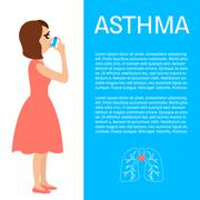 Woman with asthma Piirros