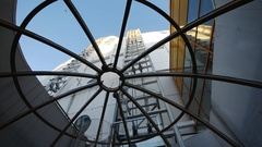 View trough the roof of SkyView incline elevator to the wall of Ericsson Globe Stock Footage