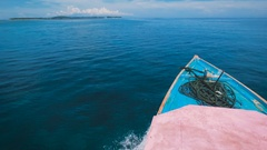 Breathtaking view of endless ocean in Bali and rostrum of the yacht sailing Stock Footage