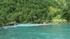 Clear blue water river and lake Stock Footage