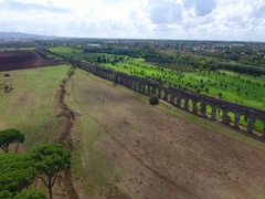 Ancient Roman aqueduct into Rome by aerial drone - 2D 07 Stock Footage