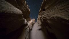 MoCo Astro Timelapse of Stars thru Sandstone Arch Formation in Desert  Stock Footage