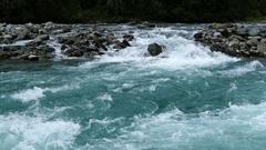 Wild clear blue stream in Morkidsdalen park Stock Footage