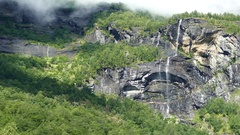 Waterfall landscape in Morkidsdalen park Stock Footage